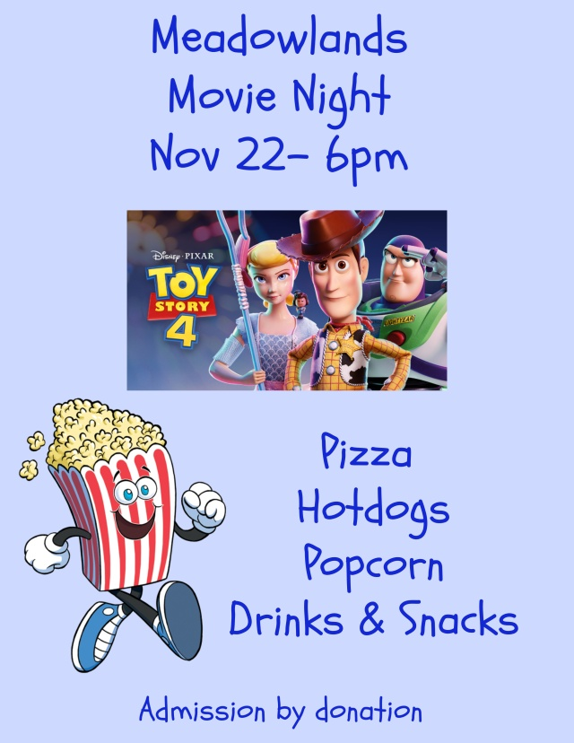 Movie Night Poster, Toy Story 4 at 6 pm